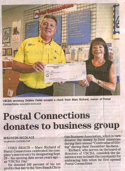 Postal Connections Donates to Business Group